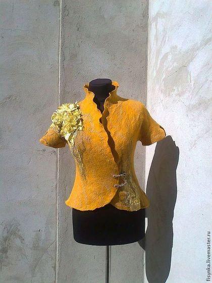 Пиджаки, жакеты ручной работы. Ярмарка Мастеров - ручная работа. Купить жакет валяный Желтые розы. Handmade. Золотой, Валяние