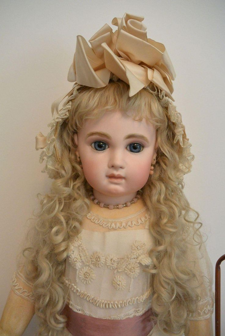 """Striking Antique Cream Silk and Lace Bonnet"" from dear-dolly on Ruby Lane"