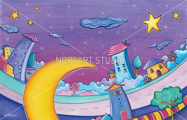 Printable Kids Painting, Colorful Cartoon Houses and Moon Painting, Digital Download, Watercolor Painting, Child Wall Art, Nursery Wall Art by NopiArtStudio on Etsy