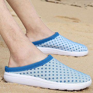 Hollow Out Round Toe Casual Beach Slippers Mesh Sandals - US$20.14