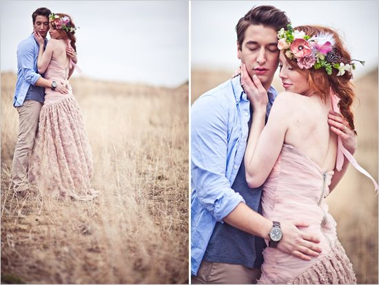 whimsical wedding Dress. Liking the floral hair wreath.