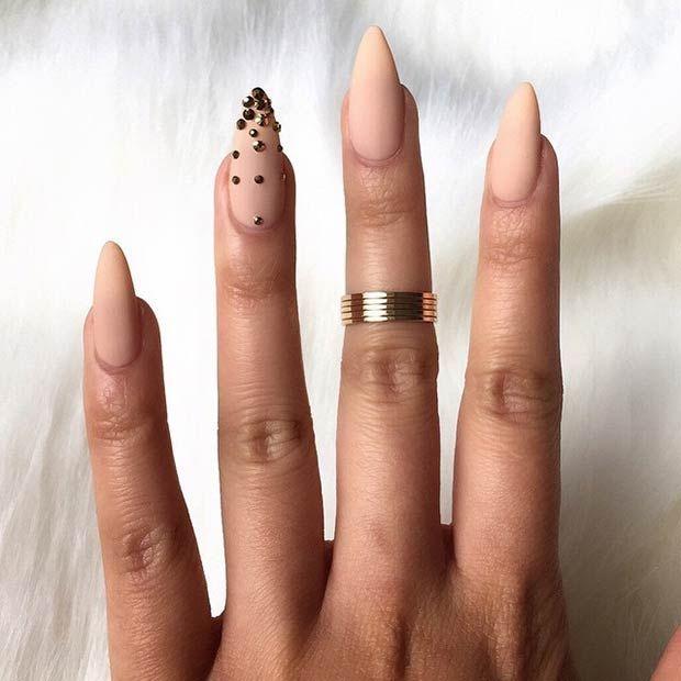 Nude Matte Stiletto Nails