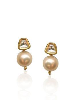 polki n pearl earring