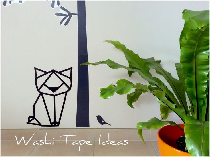 Washi tape cat wall decall