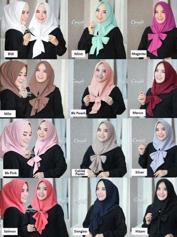 Jilbab instan /Hijab Coupli Slup Pita diamond crepe, Jilbab instant 1x slup, dengan pad antem spons dan tali yang dapat disimpul menjadi bentuk pita, hits