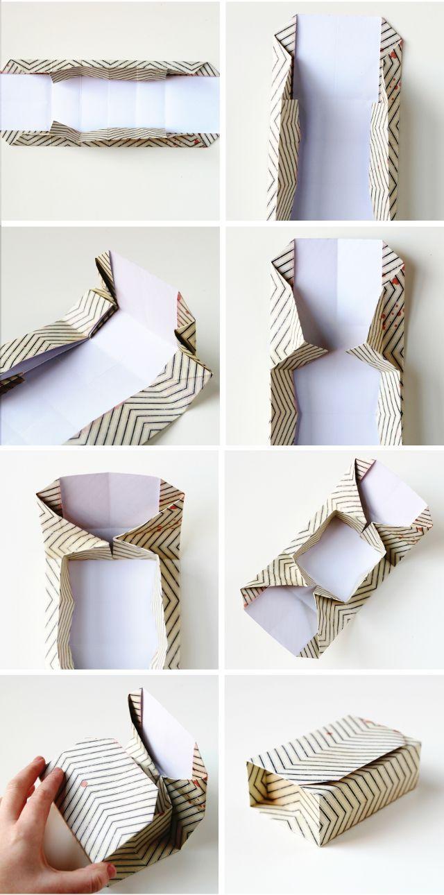 一枚の紙から、これらの長方形DIYの折り紙ボックスを作ります