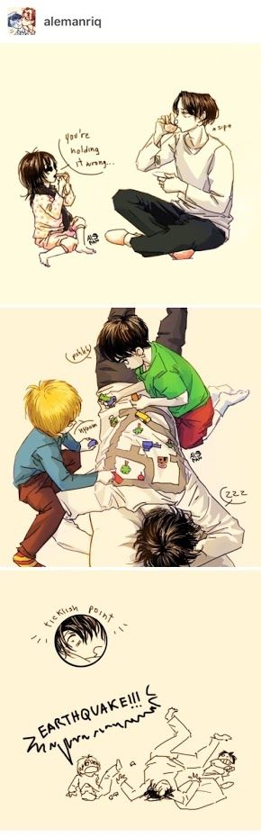 This is so cute! Daddy Levi and chibi Armin, Eren, and Mikasa