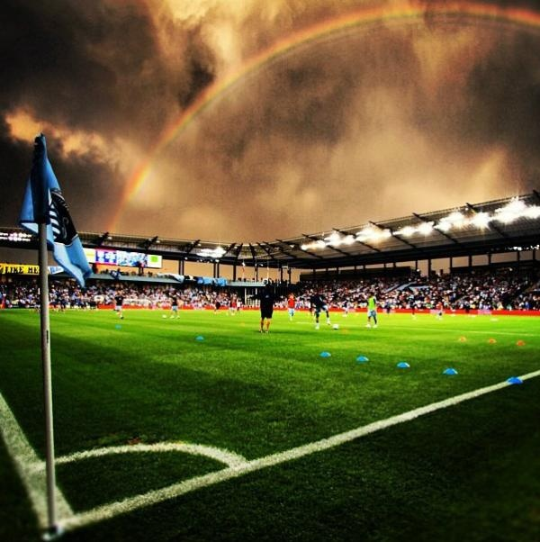 Gorgeous shot of the wild weather at Livestrong Park on Wednesday when Sporting KC won the US Open Cup.