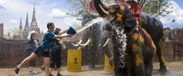 Songkran – Thailand Water Festival Mi-avril = nouvel an bouddhique, qui tombe en avril pendant la saison la plus torride. les Thaïlandais s'adonnent à une bataille d'eau géante dans les rues des villes, à coup de seaux d'eau, canons à eau ou même… de trompes d'éléphant. Mention spéciale à Khao San Road. L'eau est source de purification et éloigne la malchance. À l'origine, les Thaïlandais baignent les bouddhas et versent des eaux parfumées sur les mains de leurs aînés.