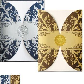 Vintage Elegance Rounded Pocket Invitations | PaperDirect