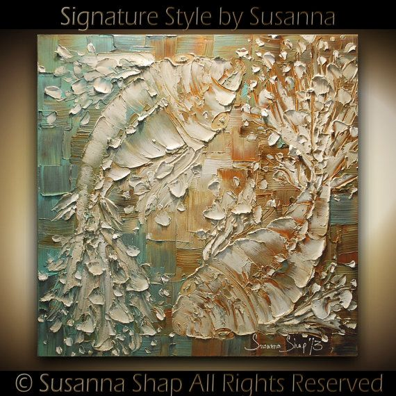 ORIGINAL Art Koi Fish Painting Thick Texture Abstract Painting Yin Yang Love Contemporary Fine Art by Susanna