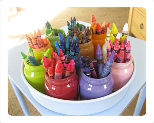 Recycled Jar Crayon Storage - Babybites.co.nz