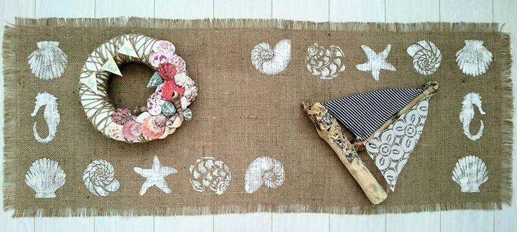 Nyár, asztalterítő, zsákvászon, fahajó, kagylós koszorú! Summer, tablecloths,ship  burlap, wood craft, shell wreath!