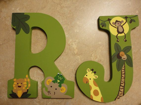 Wooden Letters NoJo Jungle Babies Large by WallApproved on Etsy, $28.00