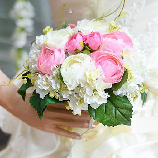 Charming White Cloth Wedding Bridal Bouquet With Ribbon