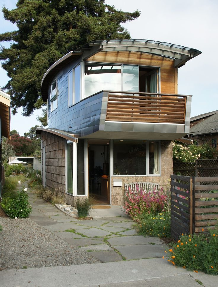 A home built from recycled car parts in San Francisco, California. Designed by Green Dwellings.