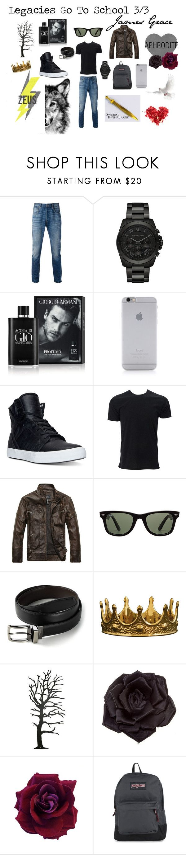 """Legacies Go To School 3/3"" by thedarkestlight ❤ liked on Polyvore featuring Levi's, Michael Kors, Giorgio Armani, Native Union, Supra, Simplex Apparel, Ray-Ban, Dockers, Seletti and Johnny Loves Rosie"
