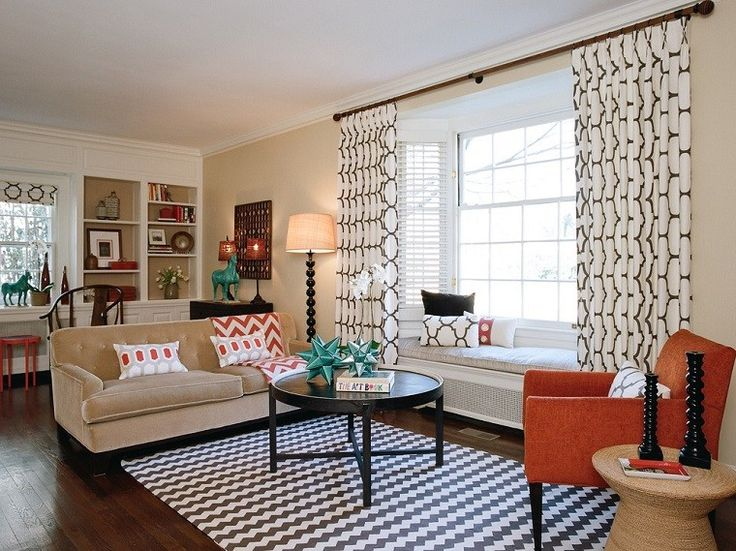 cortinas y alfombra en blanco y negro para el saln moderno