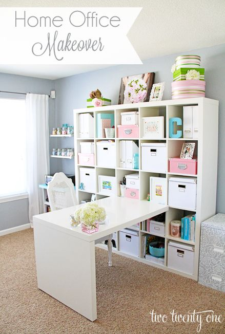 Craft room makeover using an Ikea Expedit workstation.