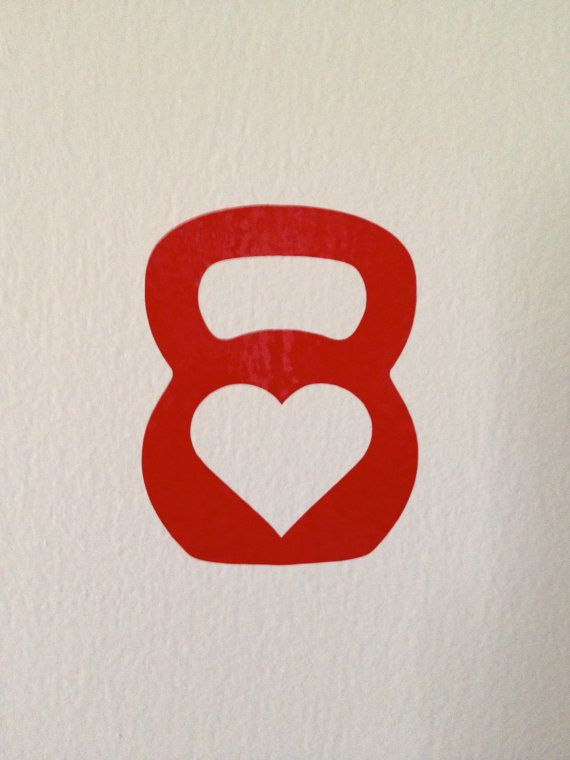 Kettlebell  Crossfit Small Decal with Heart in the by maxheart, $3.00