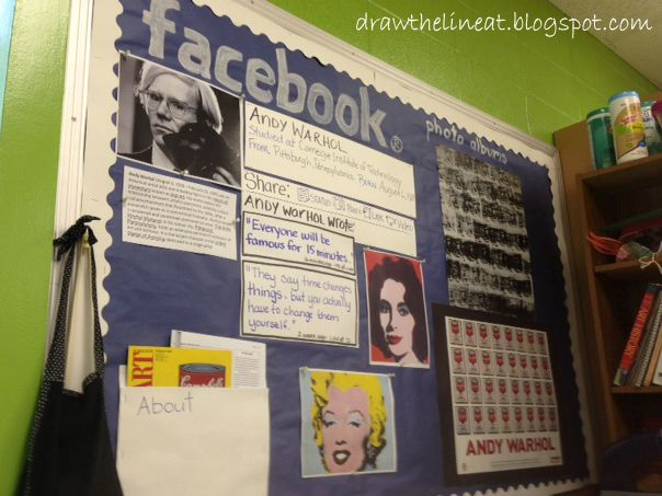 Facebook Inspired Bulletin Board {teach students about famous artists} | Draw the Line At
