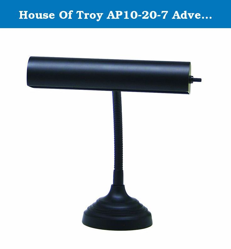 House Of Troy AP10-20-7 Advent Collection 11-1/2-Inch Gooseneck Portable Piano/Desk Lamp, Black. AP10-20-7 Finish: Black Features: -One light goose neck piano / desk lamp.-Height adjusts from 3.5'' to 11.5''.-Shade swivels to direct light.-Switch: On shade.-Accommodates: (1) T10 incandescent bulb (not included).-Cord: 108'' Brown. Specifications: -Bulb wattage: 40W. Dimensions: -Base: 5'' W.-Shade: 10'' W.-Overall Dimensions: 3.5-11.5'' H x 10'' W, 5 lbs. Collection: -Advent collection.