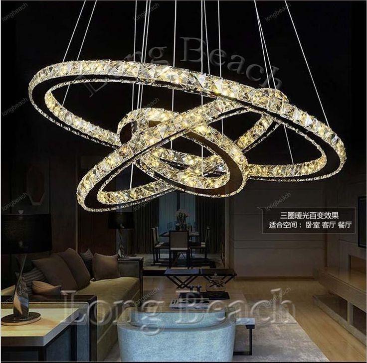 Hot Sale Diamond Ring Led Crystal Chandelier Light Modern Chandelier  Circles 100% Guarantee +Glass