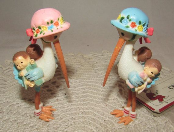 2  Small Vintage Baby Shower Stork Cake Toppers by PuppyLuckArt