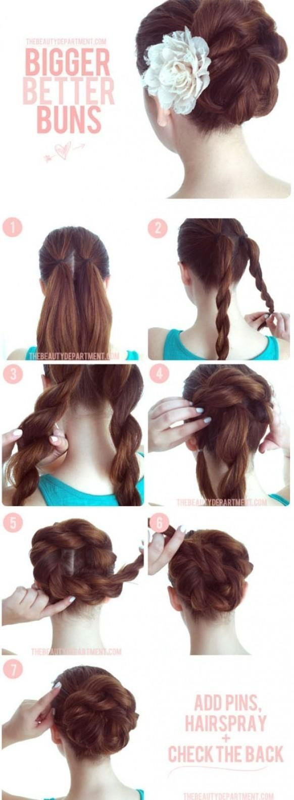 An easy way to dress up a plain bun, adding volume and texture to your hairstyle. Great for long hair.