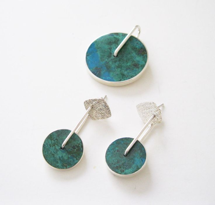 Chrysocolla and Malachite Pendant and Pierced Earrings Set Peru Sterling Silver