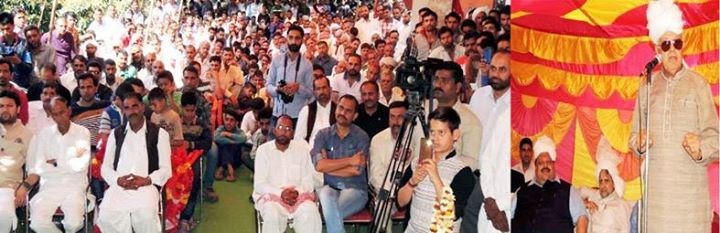 NC president Dr Farooq Abdullah addressing party workers in Nagrota on Saturday.