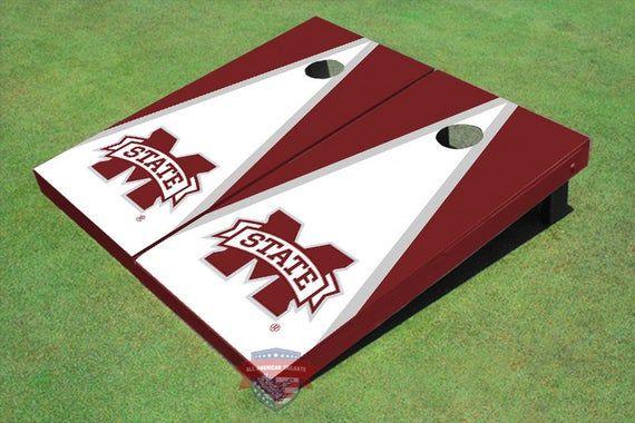 Corn Hole NCAA Mississippi State University Bulldog White And Maroon Matching Triangle Cornhole Boards