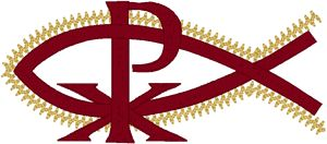 Machine Embroidery Design: Chi Rho with Fish #2