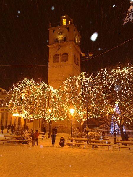Christmas in clock tower of Kozani, Greece