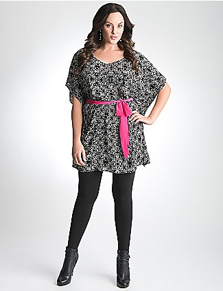 This is absolutely gorgeous. I think I need this in my life! #LB12Days    Silky kimono tunic adds excitement to your wardrobe with a lively dotted print and brightly-colored belt. Curve-flattering silhouette features short sleeves and draped sides, with an inset belt to define your curves beautifully. Flattering length is chic as a short dress or layered over tights for an on-trend tunic.