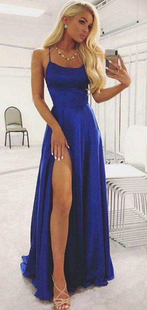 A-Line Royal Blue Halter Side Slit Sleeveless Long Prom Dresses – #ALine #blue #…