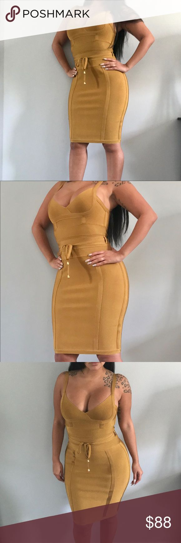 "The ""Melissa"" 💎Mustard Bandage Dress💎 💎Also Available in color Rust💎 💎Available in size: S, M, L💎 💎Premium Quality💎 💎Please refer to size chart for correct sizing💎 💎NO Offers/Trades💎 💎ALL SALES ARE FINAL💎 Chic By Nathalie Dresses Mini"