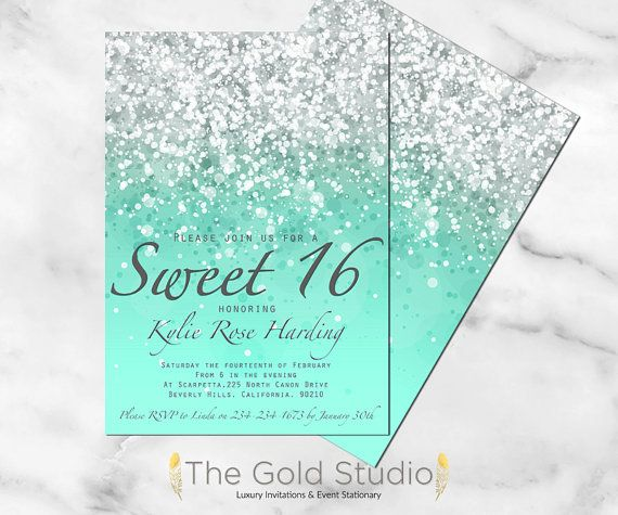 DIGITAL FILE Customizable Mint Green Glitter Ombre Sweet sixteen print at home invitation Turquoise modern birthday party invite pdf jpeg