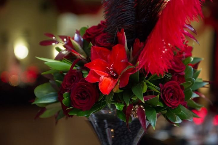 Red and gold wedding centrepieces
