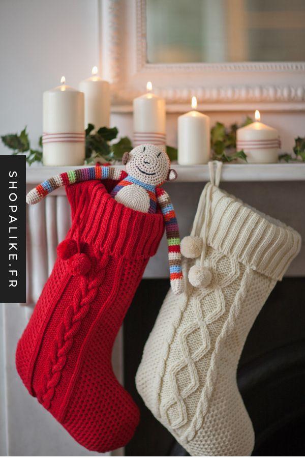 Chausette De Noel Chaussettes de Noël   Chaussette noel, Chaussette noël crochet