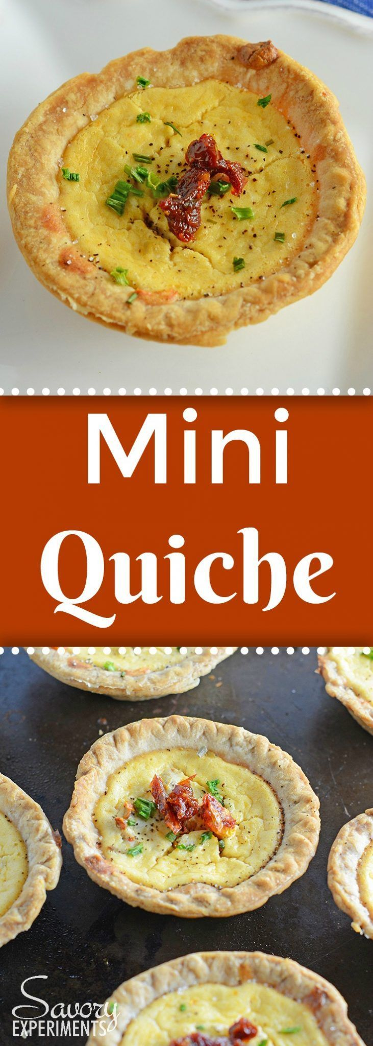 Make easy and delicious individual mini quiche! Goat cheese quiche are eggs whipped with goat cheese, sun dried tomatoes, pine nuts and Parmesan cheese! #miniquiche #vegetarianquicherecipe #goatcheesequiche www.savoryexperiments.com