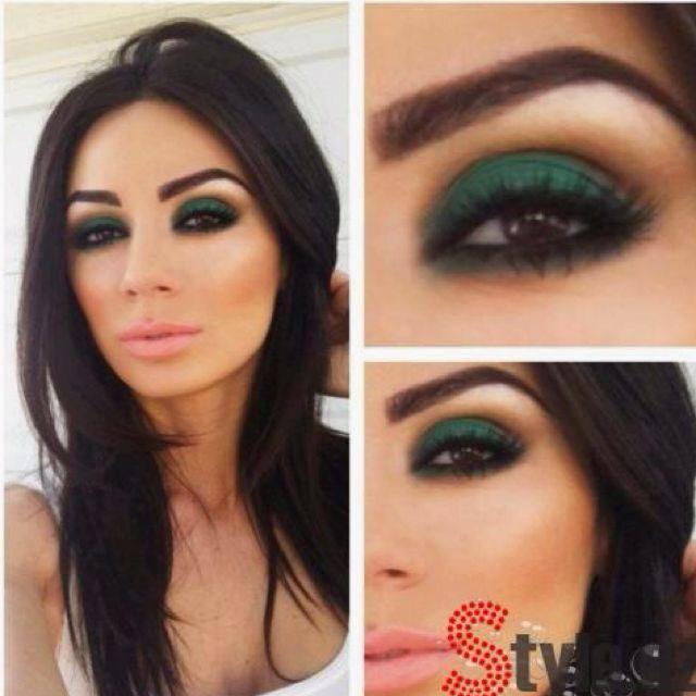 Deep emerald smoky eyes on brown eyed brunette - very flattering :)