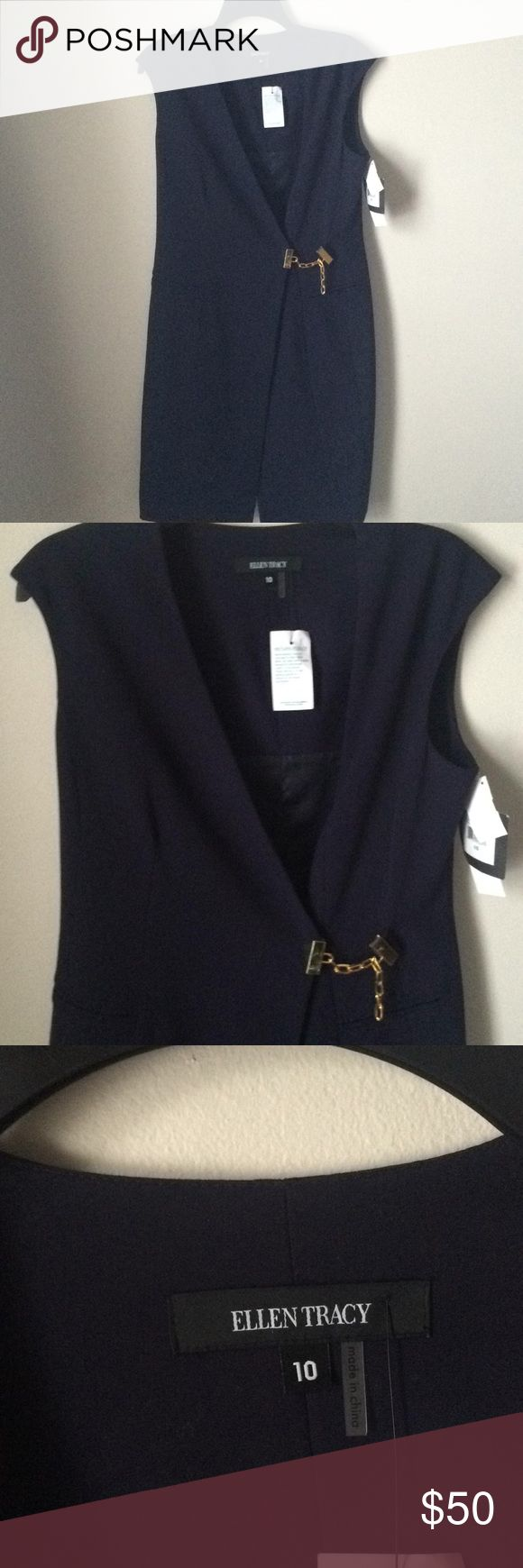 """💐 Ellen Tracy Blue Dress Navy Blue V Neck Dress 👠 Hidden inner zipper & one snap button Described as """"Indigo Blue"""" Gold Tone Link makes this color Pop 💙 Fully Lined Shell Polyester Rayon Spandex Blend Lining 100% Polyester Ellen Tracy Dresses Midi"""