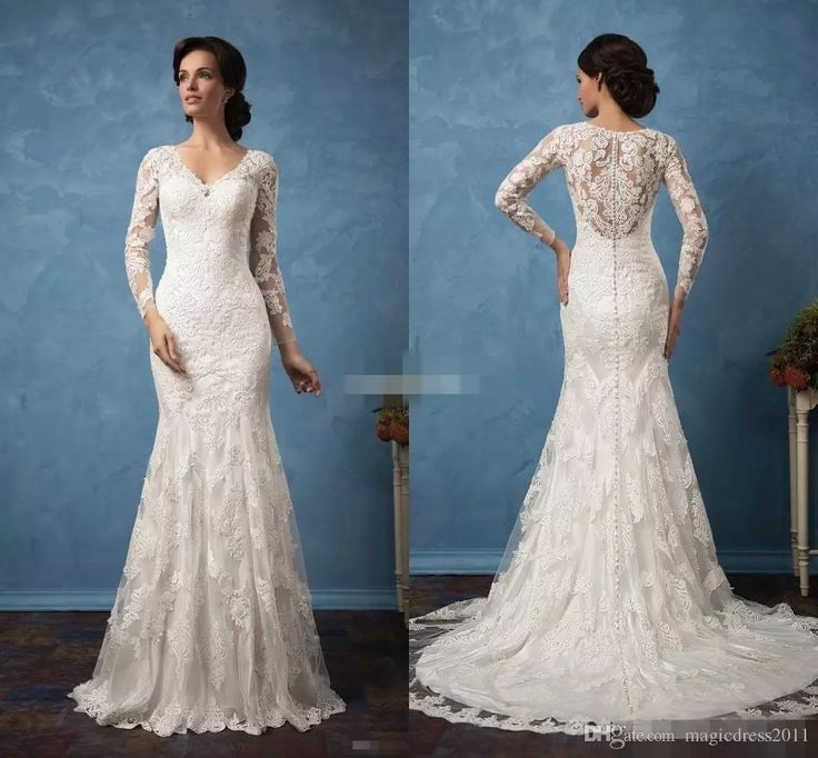 White Amelia Sposa 2017 Vintage Lace Winter Wedding Dresses Sheer V Neck Long Sleeves Court Train Beach Bridal Gowns Button Back Plus Size