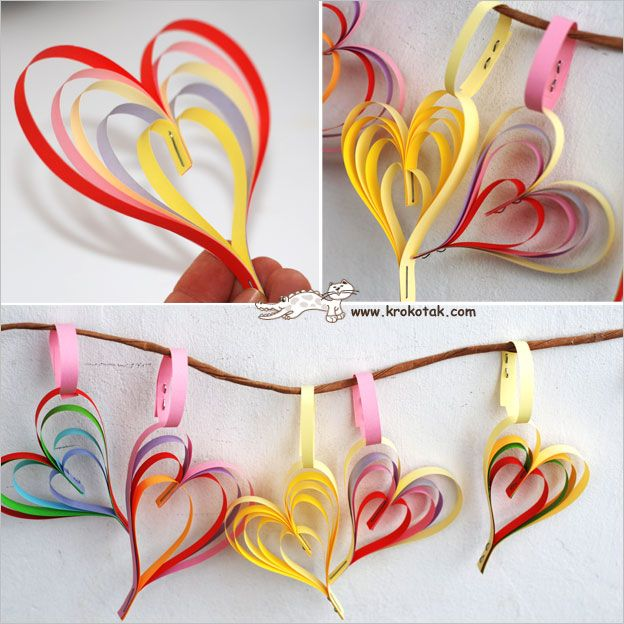 Make layered hearts with quilling papers -use glue instead of staples for a more professional look.