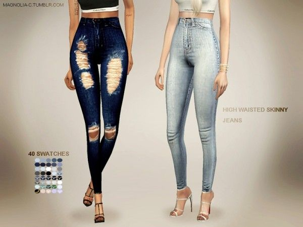 The Sims Resource: High Waisted Skinny Jeans by magnolia-c • Sims 4 Downloads