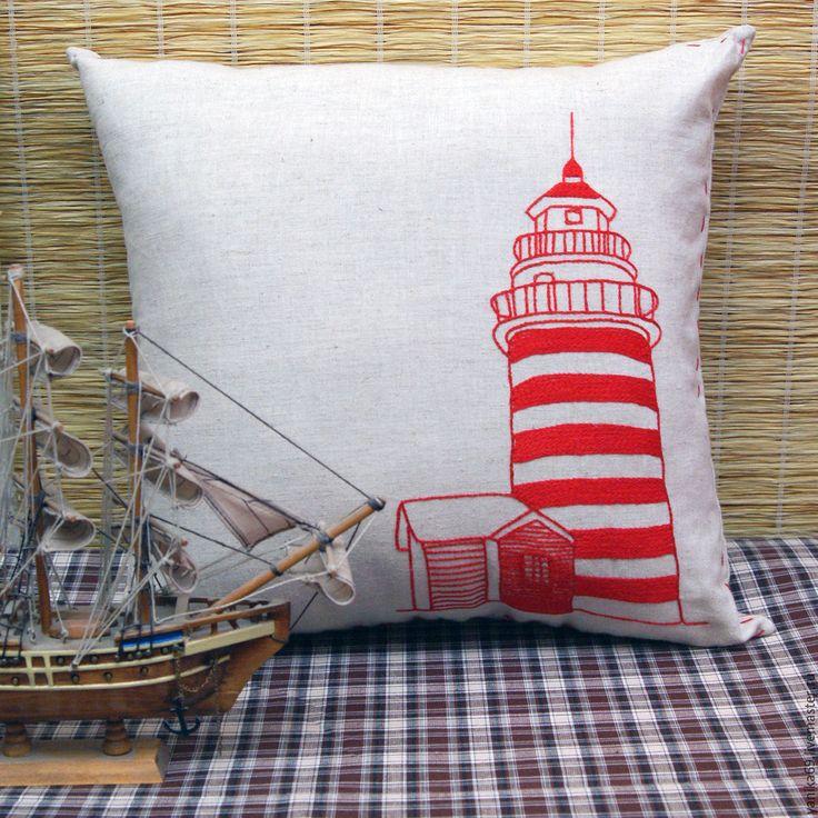 Купить Интерьерная подушка с вышивкой Маяк - подушка, подушка декоративная, подушка интерьерная, подушка на диван