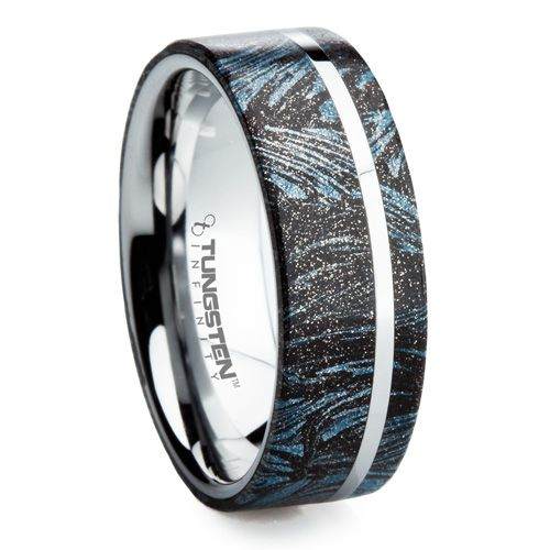 Band inlayed with Mokume Gane, one of the rarest minerals on earth!