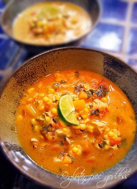 """Roasted Corn Chowder with Chicken, Lime + Cilantro... Gluten Free! """"a perfect recipe for early fall"""""""