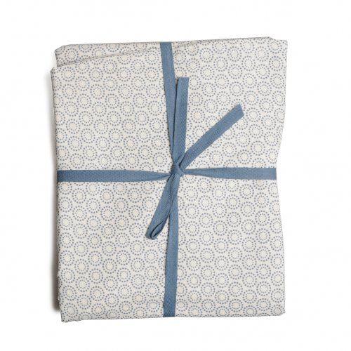 Tafelkleed, Ø 170 cm, rond, katoen, wit, blauwe stipjes